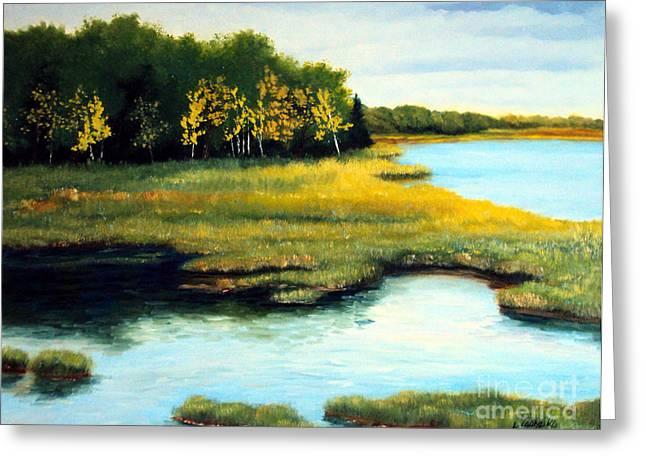 Maine Spring Paintings Greeting Cards - Spring Marsh Morning Light Greeting Card by Laura Tasheiko
