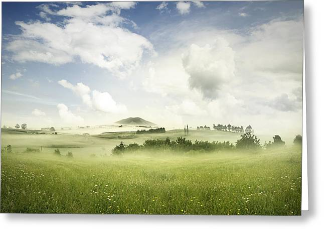 Beautiful Clouds Greeting Cards - Spring meadow Greeting Card by Les Cunliffe