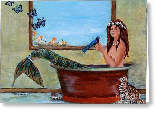 Linda Queally Greeting Cards - Spring Mermaid Greeting Card by Linda Queally