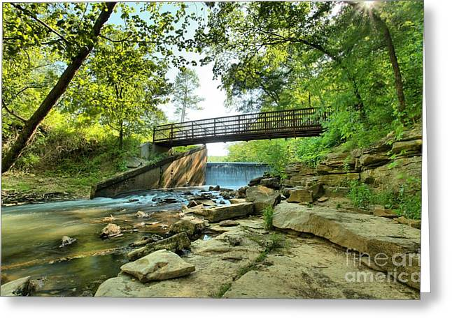 Indiana Springs Greeting Cards - Spring Mill Bridge Greeting Card by Adam Jewell