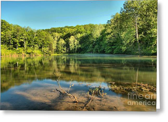Indiana Springs Greeting Cards - Spring Mill Lake Greeting Card by Adam Jewell
