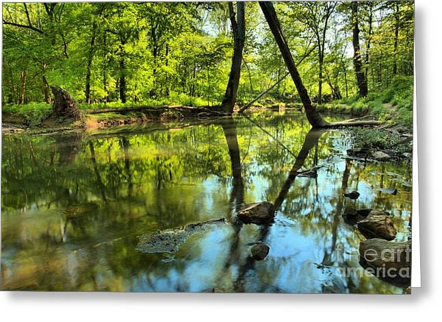 Indiana Springs Greeting Cards - Spring Mill Reflections Greeting Card by Adam Jewell