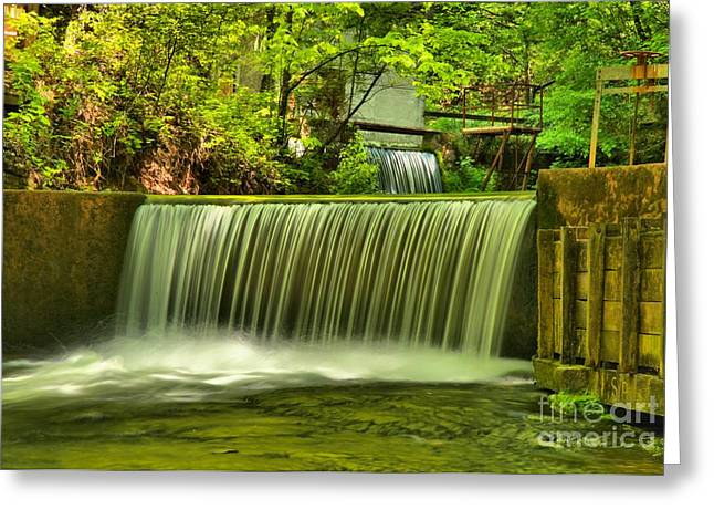 Indiana Springs Greeting Cards - Spring Mill Spillway Greeting Card by Adam Jewell