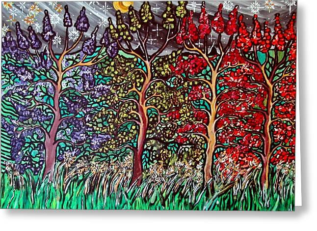 Acylic Painting Greeting Cards - Spring Night Greeting Card by Matthew  James
