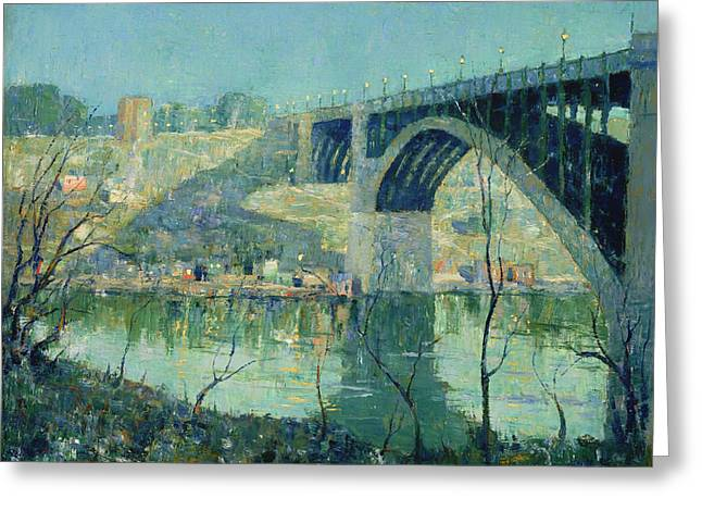 Harlem River Greeting Cards - Spring Night on the Harlem River Greeting Card by Ernest Lawson