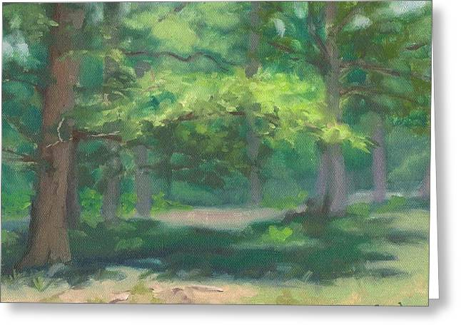 Fontainebleau Forest Greeting Cards - Spring Oaks - Chenes au printemps Greeting Card by David Ormond