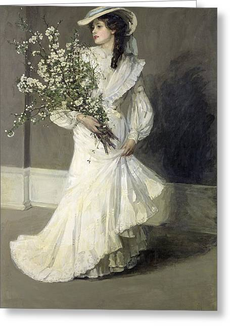 White Dress Greeting Cards - Spring Oil On Canvas Greeting Card by Sir John Lavery