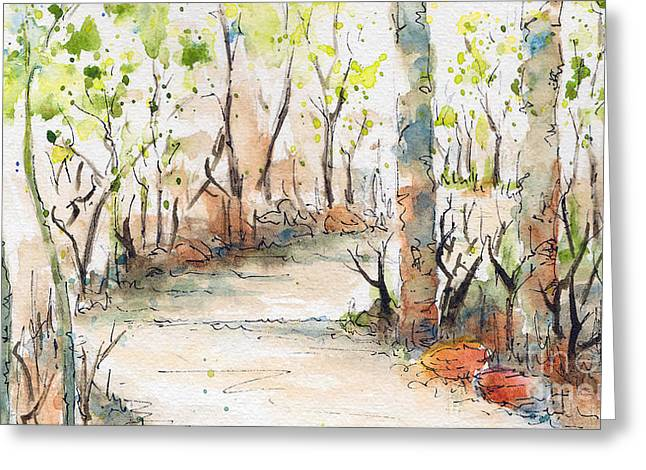 Sienna Greeting Cards - Spring On The Trail - Horizontal Greeting Card by Pat Katz