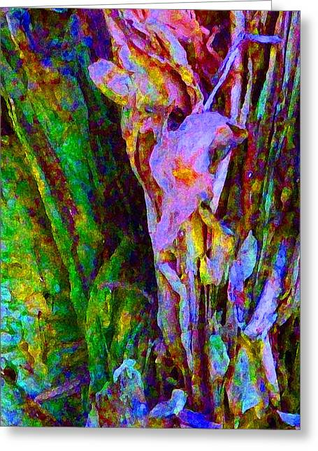 Coloured Bark Greeting Cards - Spring Paperbark Tree Abstract  Greeting Card by Margaret Saheed