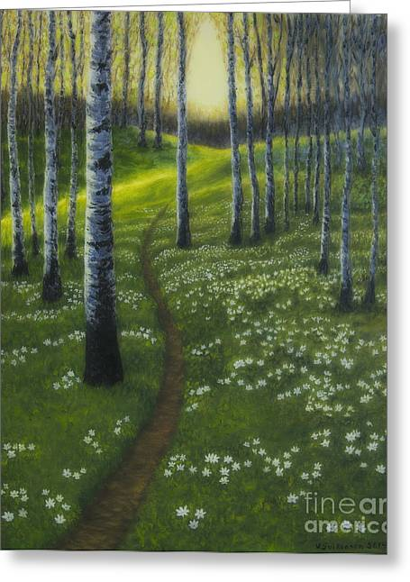 Vibrant Green Greeting Cards - Spring path Greeting Card by Veikko Suikkanen