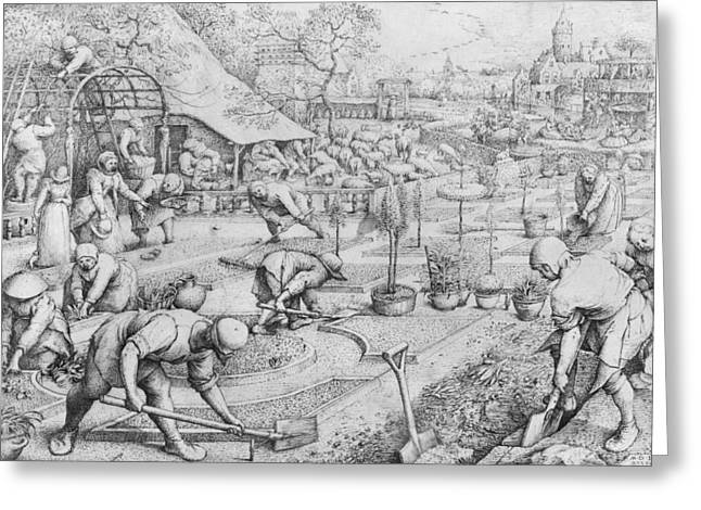 Farmer Drawings Greeting Cards - Spring Greeting Card by Pieter the Elder Bruegel