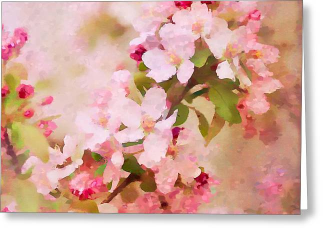 Abstract Impressionism Digital Art Greeting Cards - Spring Pink Greeting Card by Betty LaRue