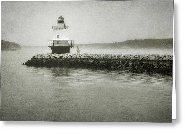 Foggy Ocean Greeting Cards - Spring Point Ledge Light Greeting Card by Joan Carroll