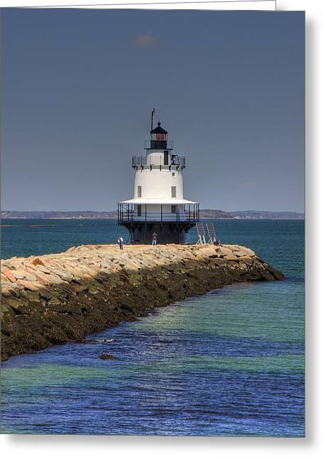 Ocean Panorama Greeting Cards - Spring Point Ledge Light Greeting Card by Joann Vitali
