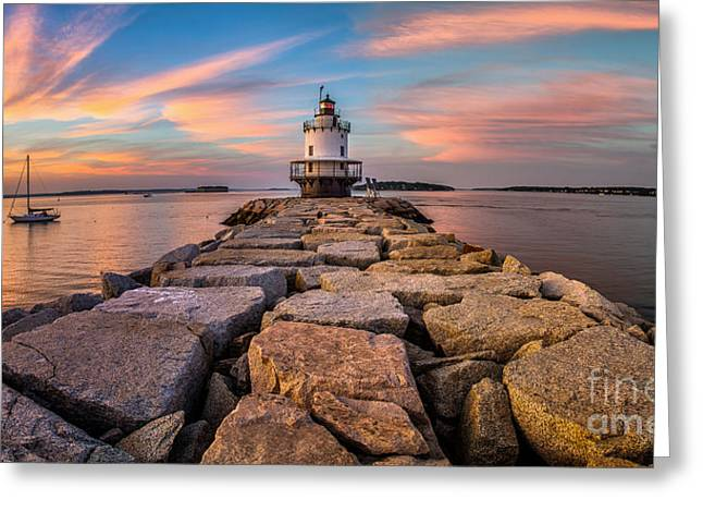 Ledge Greeting Cards - Spring Point Ledge Light Panorama Greeting Card by Benjamin Williamson