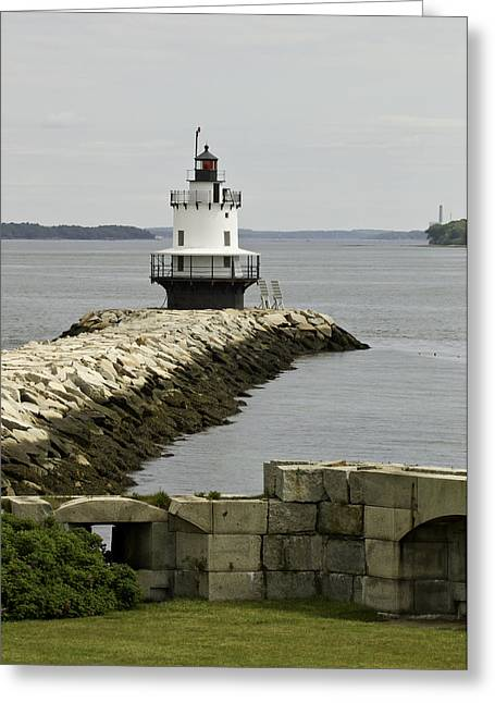Maine Spring Greeting Cards - Spring Point Ledge Light Greeting Card by Sherry Boylan