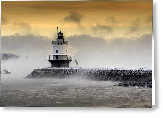 Spring In Maine Photographs Greeting Cards - Spring Point Ledge Lighthouse Greeting Card by George Petkov