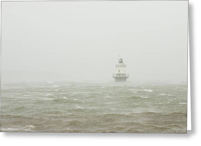 New England Ocean Greeting Cards - Spring Point Ledge Lighthouse in Storm in Portland Maine Greeting Card by Keith Webber Jr