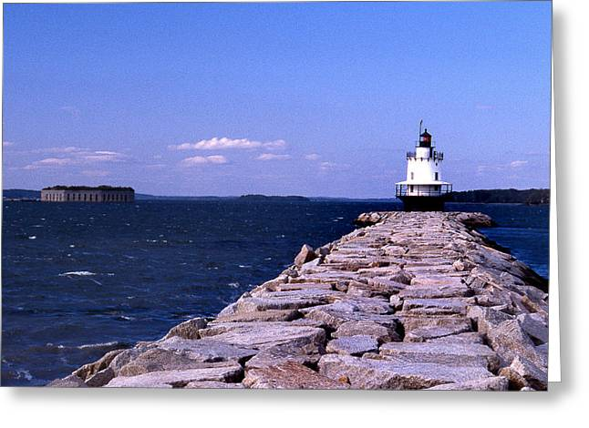 Ledge Photographs Greeting Cards - Spring Point Ledge Lighthouse Greeting Card by Skip Willits