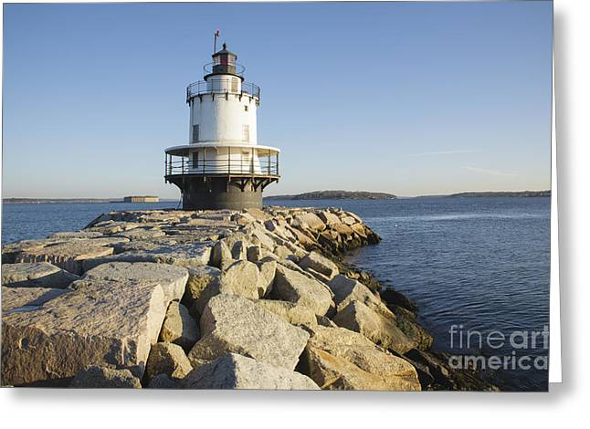 Ledge Photographs Greeting Cards - Spring Point Ledge Lighthouse - South Portland Maine Greeting Card by Erin Paul Donovan