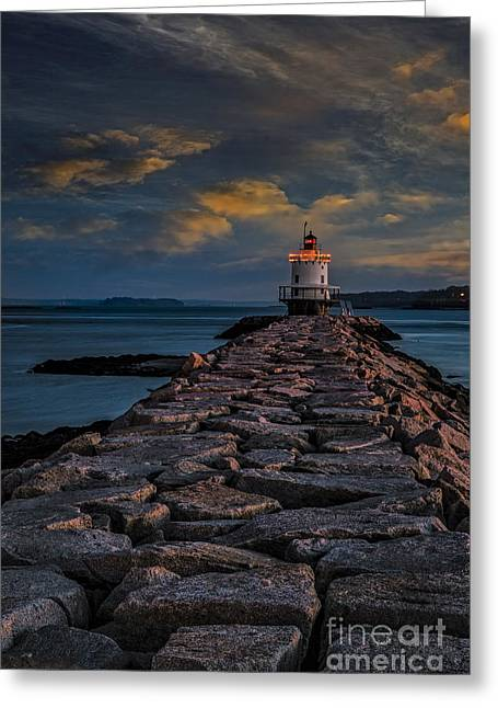 Ledge Greeting Cards - Spring Point Ledge Lighthouse Greeting Card by Susan Candelario