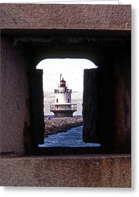 Spring Point Ledge Lightouse Greeting Card by Skip Willits