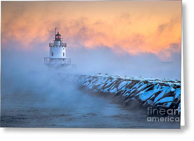 Ledge Greeting Cards - Spring Point Ledge Sea Smoke Greeting Card by Benjamin Williamson