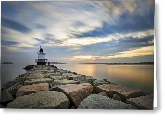 Maine Spring Greeting Cards - Spring Point Sunrise Greeting Card by Eric Gendron