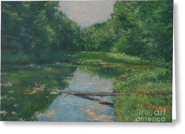 Gregory Arnett Paintings Greeting Cards - Spring Pond Reflection Greeting Card by Gregory Arnett