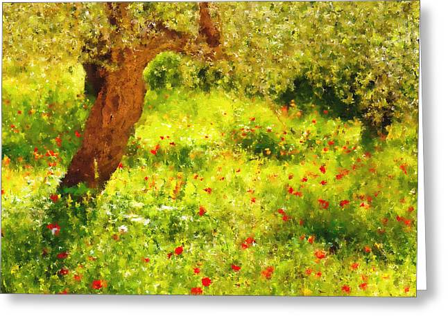 Country Greeting Cards - Spring Poppies Impressionism Greeting Card by Georgiana Romanovna