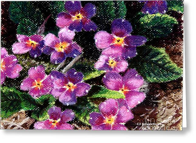 Primroses Pastels Greeting Cards - Spring Primrose Greeting Card by Carol Kovalchuk