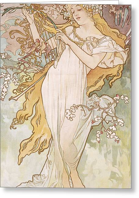 Spring Printemps Greeting Card by Alphonse Marie Mucha