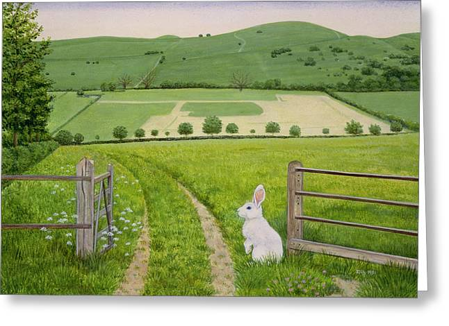 Hare Greeting Cards - Spring Rabbit Greeting Card by Ditz