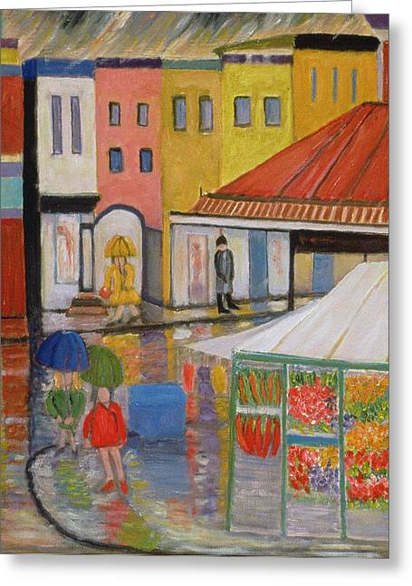 Daily Life Greeting Cards - Spring Rain Bywood Market  Greeting Card by Patricia Eyre