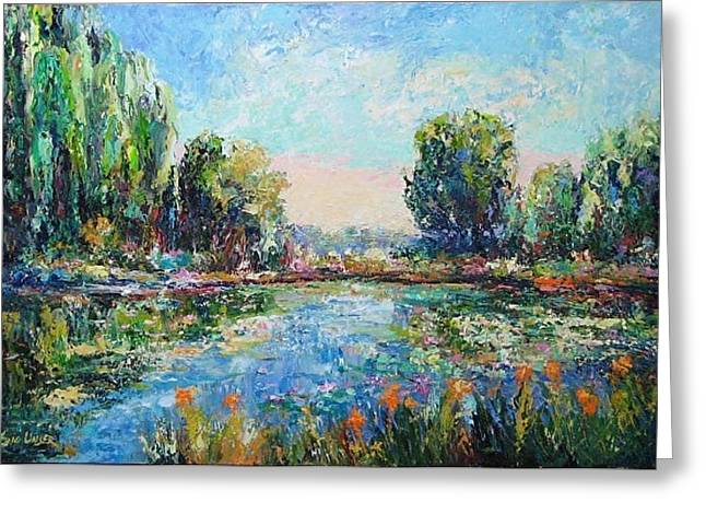 Pallet Knife Greeting Cards - Spring Reflection Greeting Card by Eric Unser