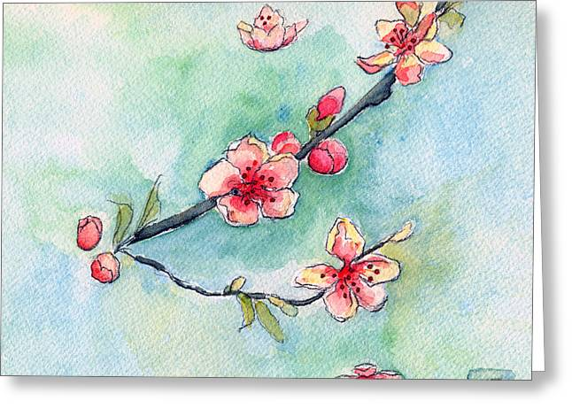 Cherry Blossoms Paintings Greeting Cards - Spring Relief Greeting Card by Katherine Miller