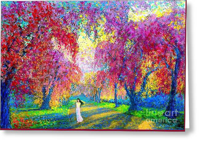 Vibrant Paintings Greeting Cards - Spring Rhapsody Greeting Card by Jane Small