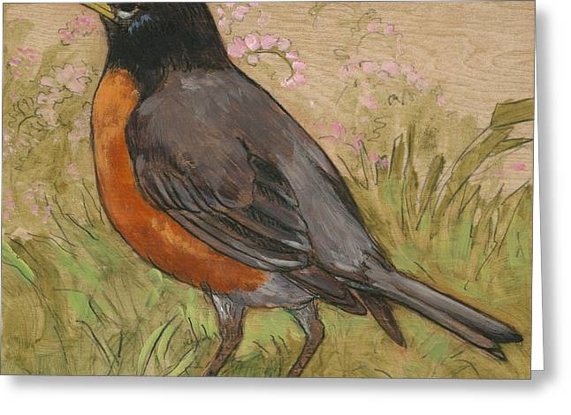 Robin Mixed Media Greeting Cards - Spring Robin 2 Greeting Card by Tracie Thompson