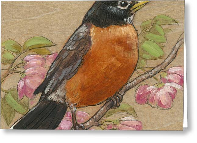 Birds With Flowers Greeting Cards - Spring Robin 3 Greeting Card by Tracie Thompson