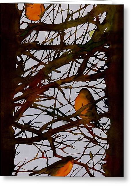 Light Blue Tapestries - Textiles Greeting Cards - Spring Robins Gather Greeting Card by Carolyn Doe