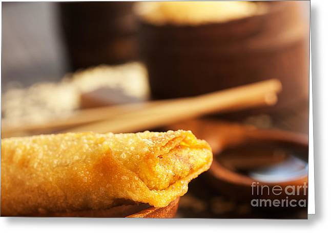 Take-out Photographs Greeting Cards - Spring roll Greeting Card by Mythja  Photography