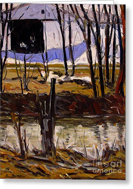 Canvas Panel Greeting Cards - Spring Run Off Greeting Card by Charlie Spear