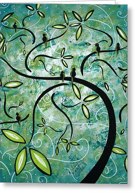Turquoise Abstract Art Greeting Cards - Spring Shine by MADART Greeting Card by Megan Duncanson