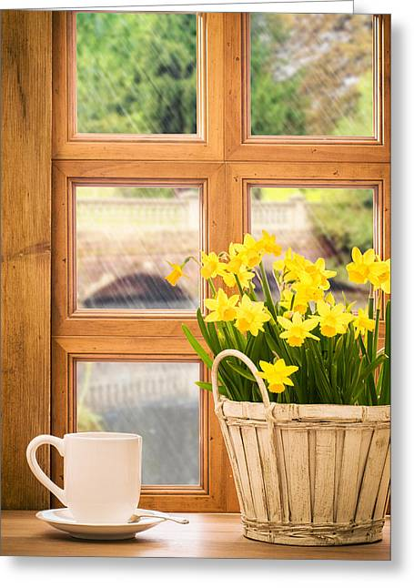 Window Frame Greeting Cards - Spring showers Greeting Card by Amanda And Christopher Elwell
