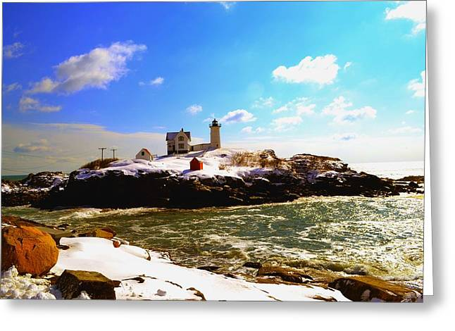 Sohier Park Greeting Cards - Spring Snow at Nubble Lighthouse Greeting Card by Nina-Rosa Duddy