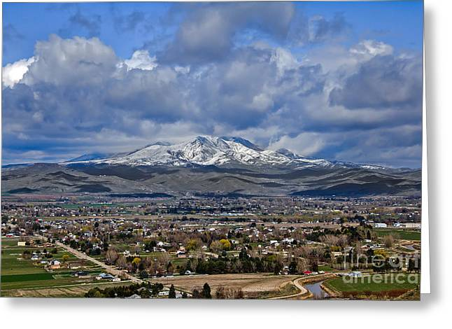 Emmett Valley Greeting Cards - Spring Snow On Squaw Butte Greeting Card by Robert Bales