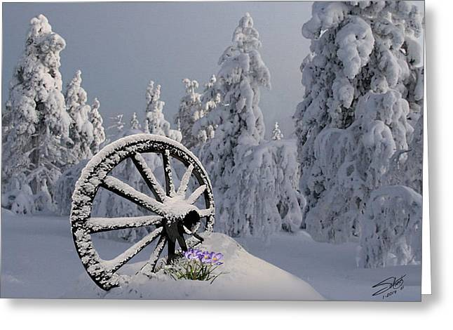 Snowstorm Digital Art Greeting Cards - Spring Snowfall Greeting Card by IM Spadecaller