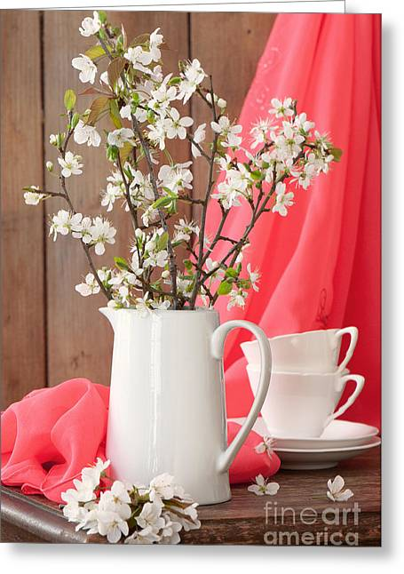 White China Cup Greeting Cards - Spring Still Life Greeting Card by Amanda And Christopher Elwell