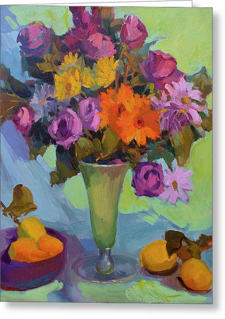 Basket Pot Greeting Cards - Spring Still Life Greeting Card by Diane McClary