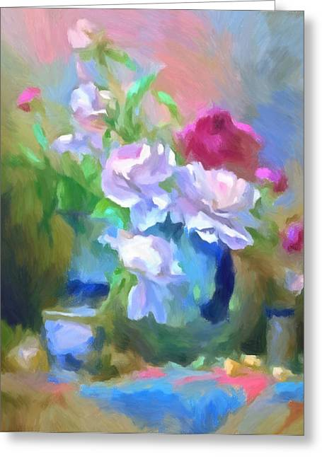 Recently Sold -  - White Cloth Greeting Cards - Spring Still Life Impressionism Greeting Card by Georgiana Romanovna